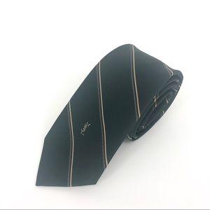 Yves Saint Laurent mens neck tie thin green ysl